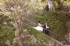 Жених и невеста на лестницах Стоковая Фотография