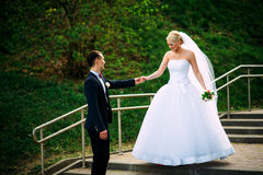 Жених и невеста на дне свадьбы обнимая Outdoors на природе весны Стоковые Фотографии RF