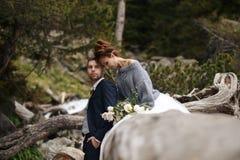Жених и невеста на предпосылке потока горы Стоковое Изображение
