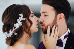 Жених и невеста обнимая и целуя Новобрачные стоковые фотографии rf
