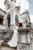 Жених и невеста около старинного здания Стоковая Фотография