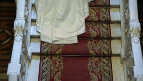 Жених и невеста поднимая лестницы видеоматериал