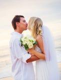 Жених и невеста, романтичная заново пожененная пара держа руки, Ju Стоковые Изображения RF