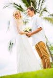 Жених и невеста, романтичная заново пожененная пара держа руки, Ju Стоковая Фотография RF