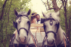 Жених и невеста сидя в белом экипаже Стоковое Изображение RF