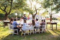 Жених и невеста с гостями на приеме по случаю бракосочетания снаружи в задворк Стоковые Изображения
