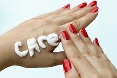 Женская забота руки стоковая фотография