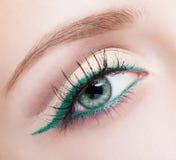 Женская зона и чело глаза с выравнивать зеленый состав карандаша для глаз Стоковая Фотография