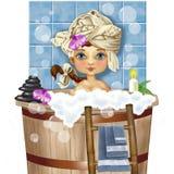 Женская диаграмма принимает ванну Стоковые Изображения