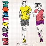 Женская и мужская иллюстрация эскиза бегуна Стоковые Фотографии RF