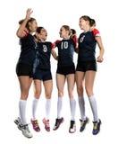 Женская команда волейбола изолированная на белизне Стоковая Фотография