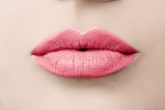 Женская красотка Макрос губ влюбленности целовать губы Стоковое фото RF