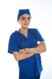Женская предпосылка белизны доктора Стоковое фото RF