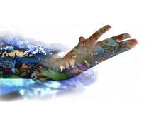 Женская рука двойная экспозиция Стоковые Фотографии RF