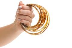 Женская рука держа ленту светоизлучающего диода Стоковое фото RF