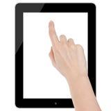 Женская рука касаясь изолированному пробелу планшета стоковое изображение