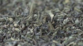 Женская рука комплектует листья чая для заваривать Китайский зеленый чай Высушенный чай выходит предпосылка o Красивый высушенный акции видеоматериалы