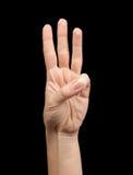 Женская рука показывая номер два Стоковая Фотография RF