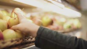 Женская рука продолжает полку с яблоками и выбирает wormy яблоко акции видеоматериалы