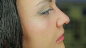 Женская сторона во время приложения макияжа Профиль акции видеоматериалы
