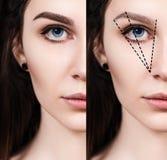 Женская сторона перед и после коррекцией бровей Стоковые Фотографии RF