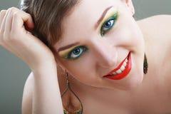 Женская сторона с красочным составом стоковые изображения rf