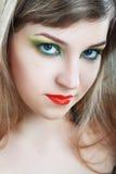 Женская сторона с красочным составом стоковые изображения