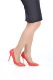 Женская юбка ботинок ноги Стоковая Фотография