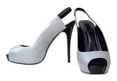 женские ботинки серебристые Стоковое Фото