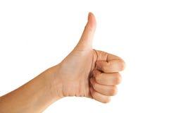 Женские большие пальцы руки руки вверх изолированные на белой предпосылке Стоковые Изображения