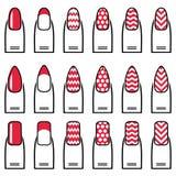Женские гель & гибрид маникюра включая формы как миндалина, квадрат, округлили ногти с простым маникюром, французским маникюром Стоковая Фотография RF