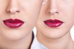 Женские губы с красной губной помадой Стоковые Изображения