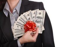 женские деньги рук Стоковое Изображение