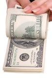 женские деньги рук Стоковые Изображения RF