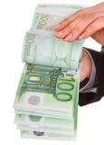 женские деньги рук Стоковые Изображения
