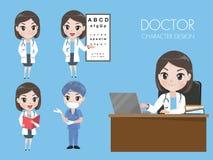 Женские доктора в различных жестах в форме иллюстрация штока