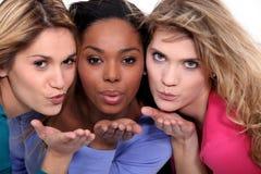 Женские друзья дуя поцелуи Стоковое Изображение