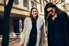 Женские друзья с хозяйственными сумками на зимний день Стоковое фото RF