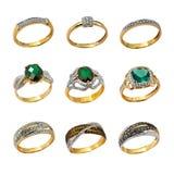 Женские золотистые кольца Стоковое Изображение