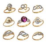 Женские золотые кольца Стоковые Фото