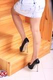 Женские ноги поднимают лестницы Стоковое Изображение RF