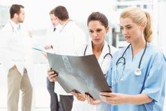 Женские доктора рассматривая рентгеновский снимок Стоковые Изображения