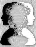 Женские профили смотря на в противоположных направлениях Стоковые Фото
