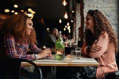 Женские друзья встречая в кафе Стоковая Фотография