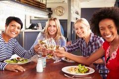 Женские друзья есть на ресторане, портрет Стоковое Изображение