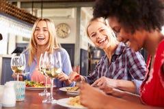 Женские друзья есть на ресторане Стоковые Изображения