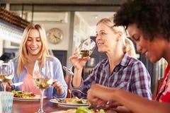 Женские друзья есть на ресторане Стоковое Фото