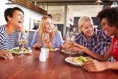 Женские друзья есть на ресторане Стоковое Изображение