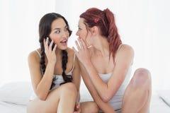 Женские друзья используя мобильный телефон пока сидящ на кровати Стоковые Изображения RF