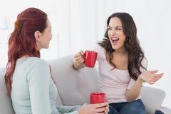 Женские друзья наслаждаясь болтовней над кофе дома Стоковое Изображение RF